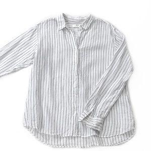 Uniqlo • 100% Linen Striped Button Down